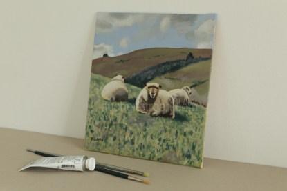 acrylic painting - sheep - Yogi & friends