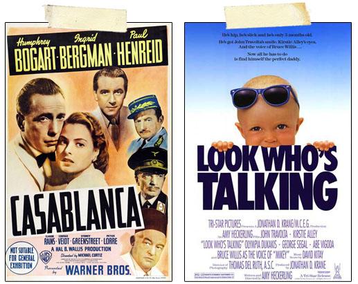 Casablanca Look Who's Talking Movie Posters