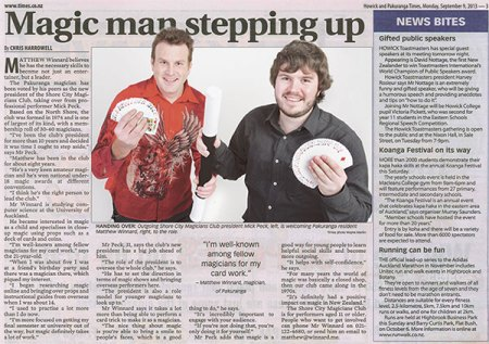 Mick Peck Auckland Magician Magic Club Pakuranga Times Article