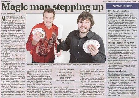 Mick Peck Auckland Magician Magic Club Pakuranga Times Article