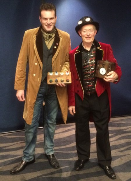 Auckland magicians Mick Peck and Wayne Rogers in steampunk magic costume