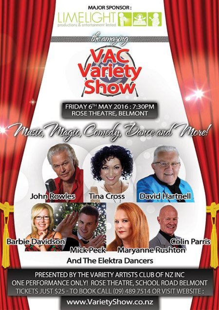 Mick Peck the magician in The Amazing VAC Variety Show, Rose Theatre Belmont Auckland