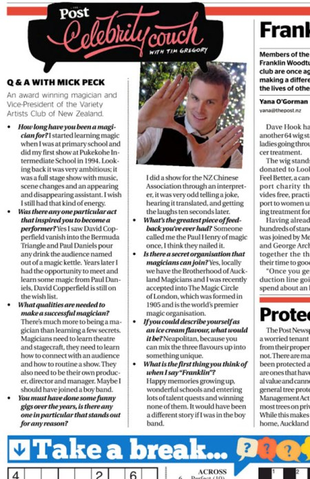 Magician Mick Peck in the Press : Celebrity Corner Q+A in Auckland newspaper