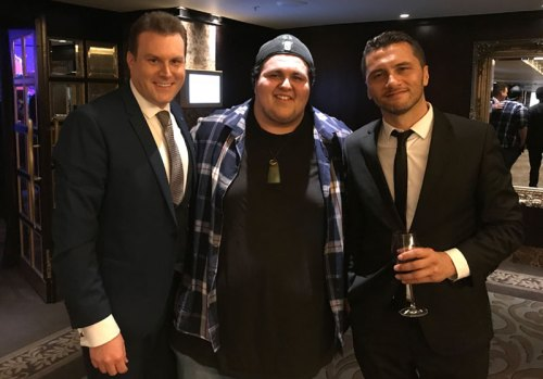 Mick Peck New Zealand magician photographed with Judah Kelly from The Voice Australia and Jason Kerrison, Hands Across the Water Fundraiser 2017