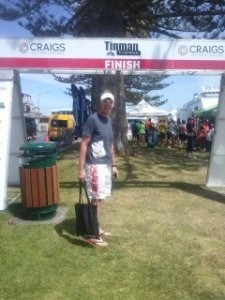 Shayne at the Tinman Triathlon finish line at registration the day before the race...