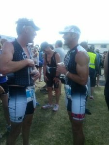 Shayne Goodwin and Paul Bowman at Tauranga Half Ironman finish