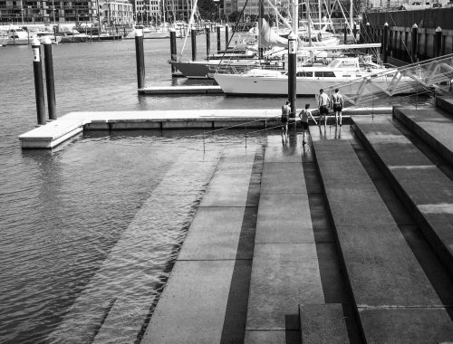 Viaduct Harbour Stairs - Black & White - Street Photography Auckland