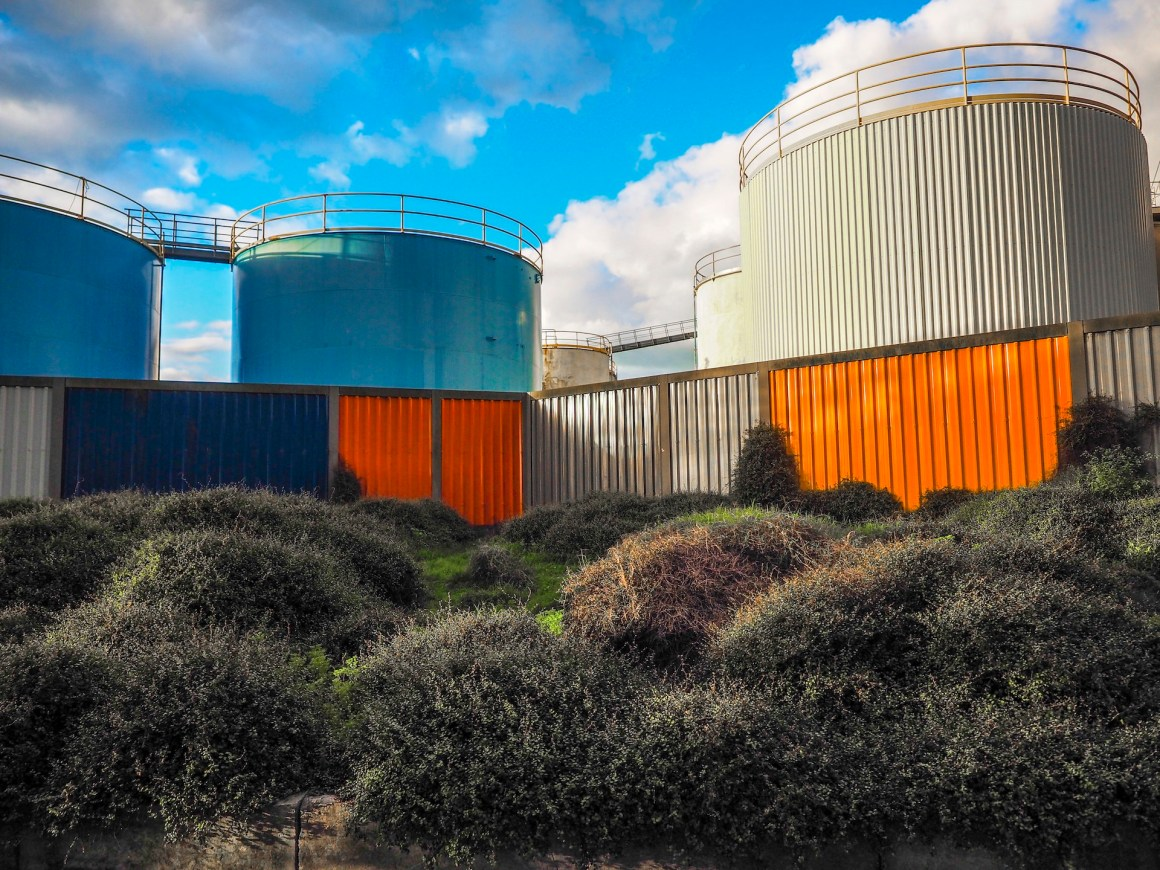 Group of painted Old Silos Wynyard Quarter