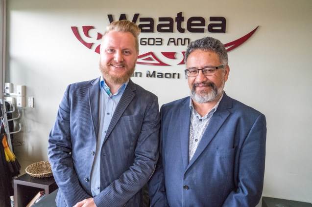 Daniel from Aucklife and Bernie O'Donnell at Radio Waatea