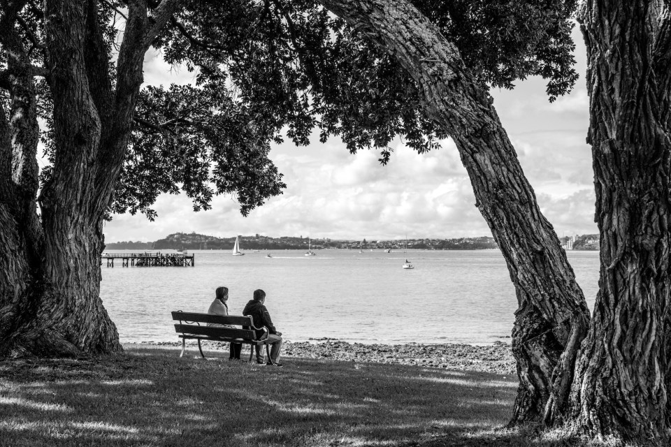 People looking at the Ocean at King Edward Parade, Devonport, Auckland Street Photography