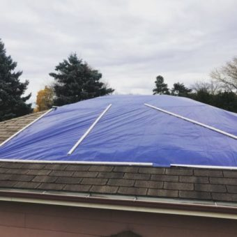 TARP INSTALLATION (SECURED WITH WOOD STRAPPING)