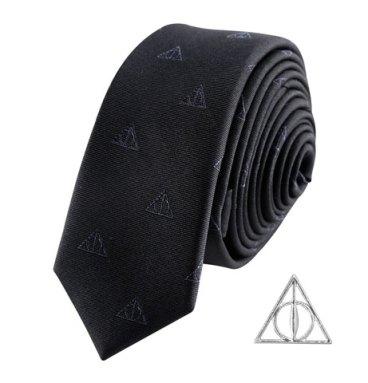 Cravate Deluxe Les Reliques de la Mort avec pin's