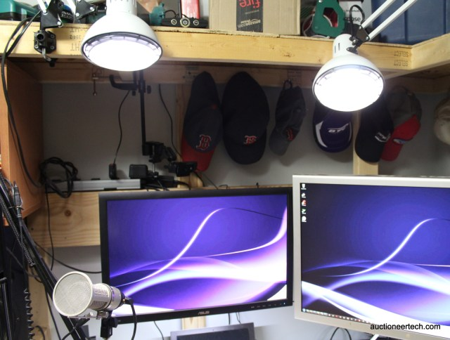 Lights on swing arms allow easy positioning for optimum video podcast lighting.