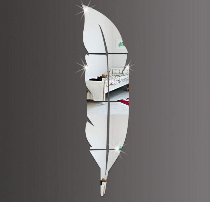 ミラー 鏡 インテリア 羽根型 ミラーウォール 割れない鏡 ウォールステッカー