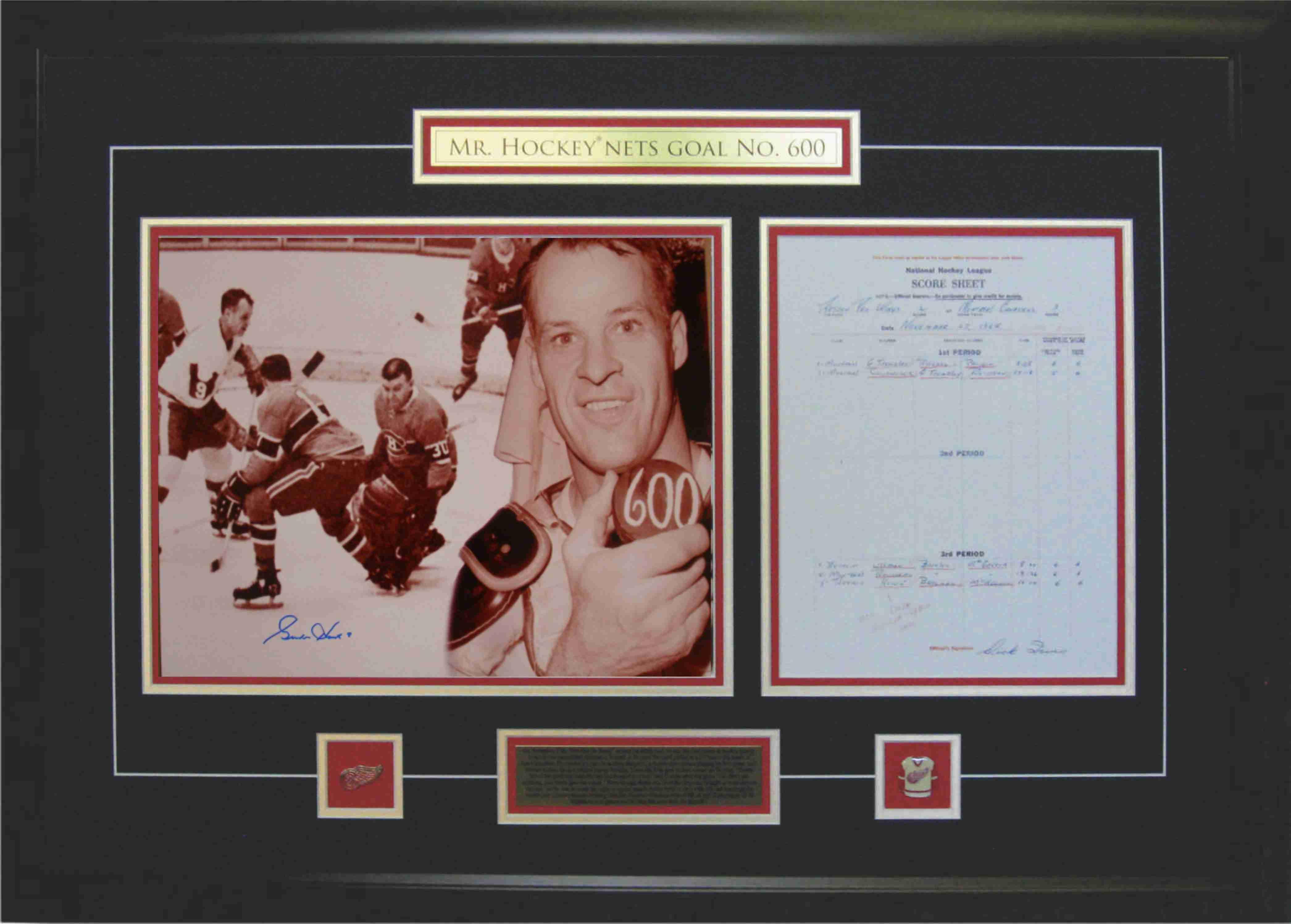Gordie Howe - Signed & Framed 11X14 Etched Mat - Scoresheet 600 Goals