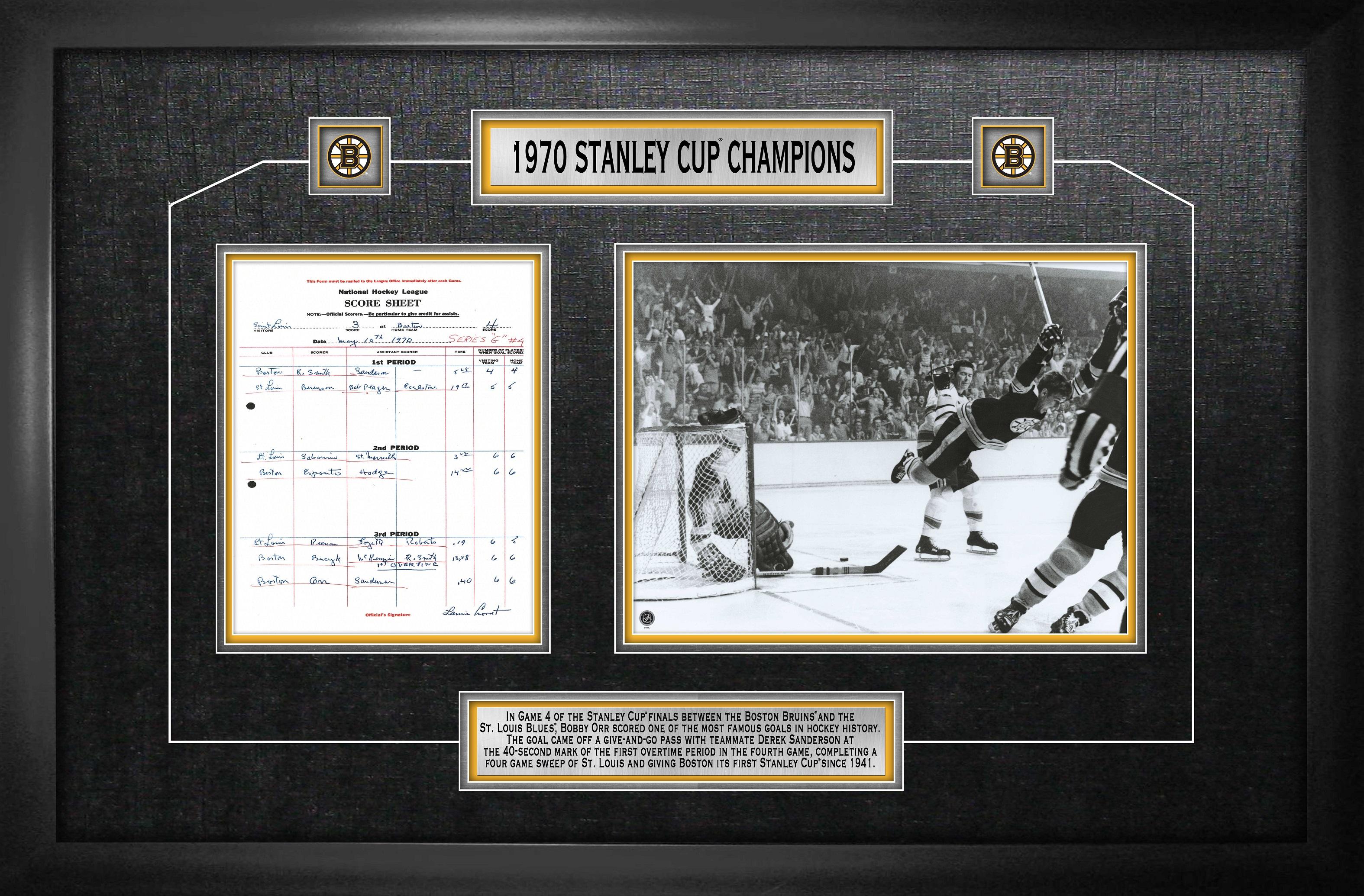 """Bobby Orr - Framed Scoresheet Collage Boston Bruins 1970 Stanley Cup - """"the  Goal"""""""