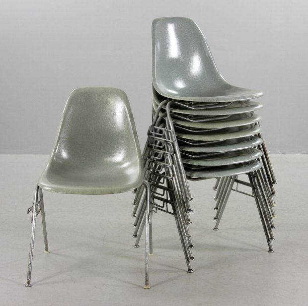 Lot Detail - Set of Eight Eames for Herman Miller Stackable Chairs