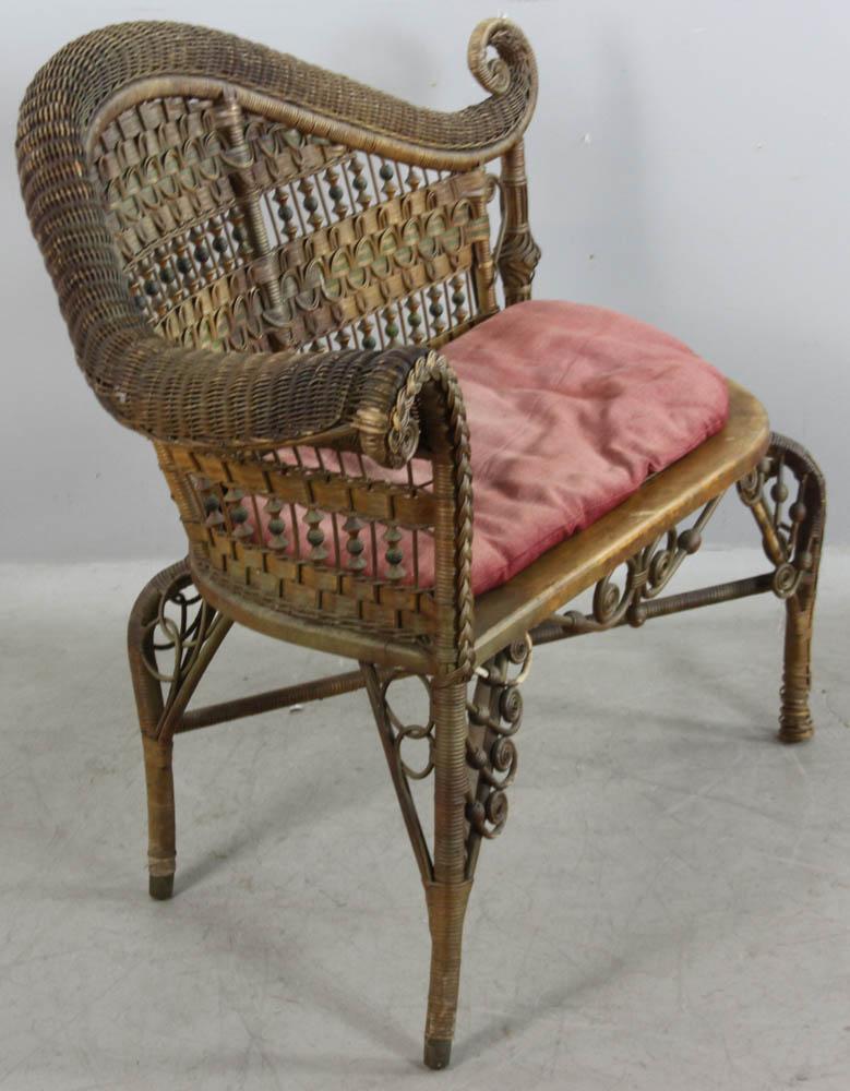 heywood wakefield wicker chairs wedding chair covers york lot detail