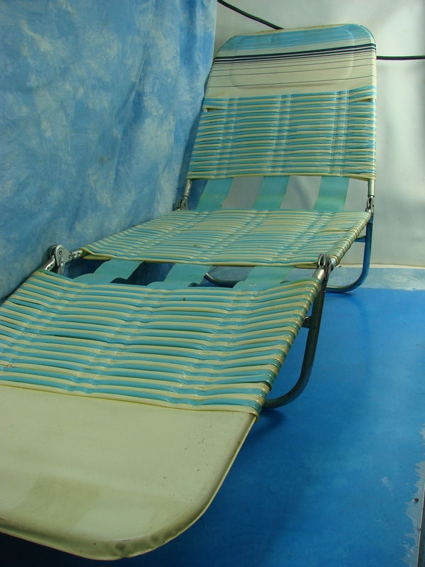vinyl folding lawn chairs for small living rooms vintage adult blue white tubing lounge chair ebay