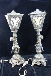 Pair of Vintage Hollywood Regency Cherub Accent Table