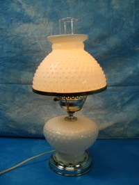 Vintage White Milk Glass Electric Hurricane Hobnail Table ...