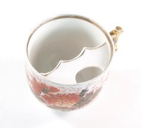 5 Large Ceramic Mustache Tea Cups With Saucers Gold Foil