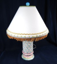 "RETIRED MACKENZIE CHILDS TABLE LAMP AALSMEER 29.5"" LAMP W ..."