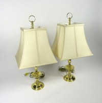 PAIR OF BALDWIN BRASS ELECTRIC TABLE LAMPS W/ SHADES ...
