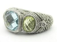Judith Ripka Blue Topaz, Lemon Quartz, & Diamonique Ring
