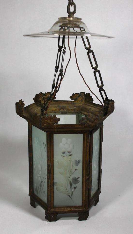 Antique 19thC Victorian Painted Tin Hanging Candle Lantern