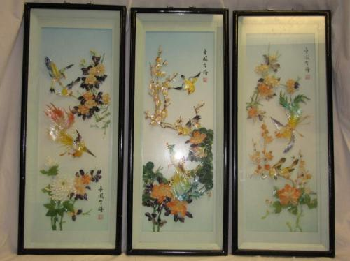 3 VINTAGE CHINESE 3D SHADOW BOX WALL ART MOTHER OF PEARL