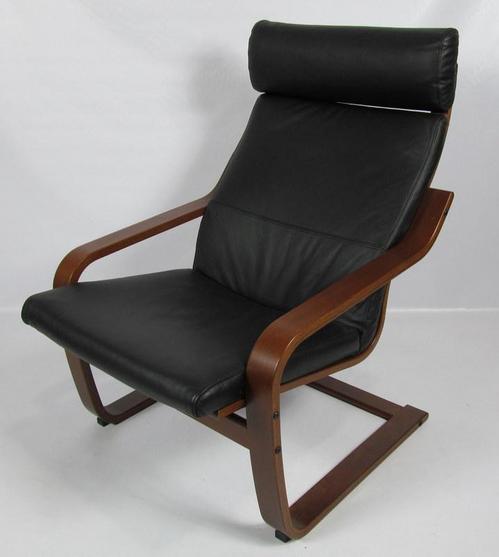 Ikea POANG Black Leather  Dark Brown Chair 40023943  eBay