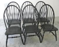 6 Pottery Barn High Back Solid Oak Windsor Dining Chairs ...