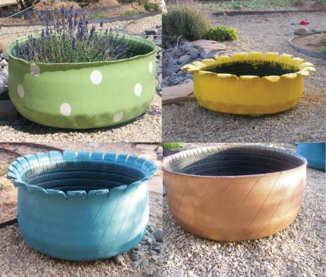 Four pictures of flower pots made out of tires and painted in bright colors.