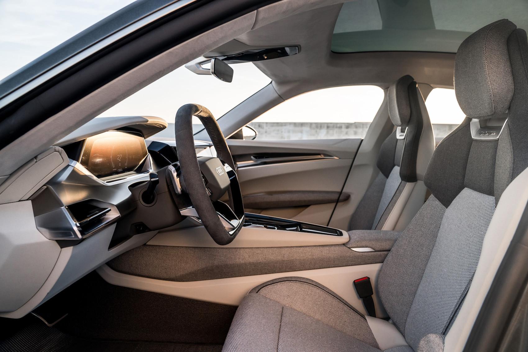 So schön kann Nachhaltigkeit sein: Der Audi e-tron GT concept hat einen veganen Innenraum. (Audi)