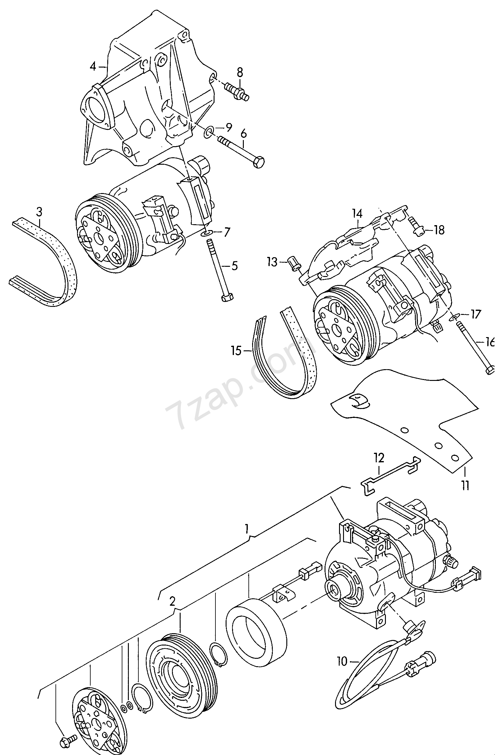 a/c compressor; connecting and mounting parts for... Audi