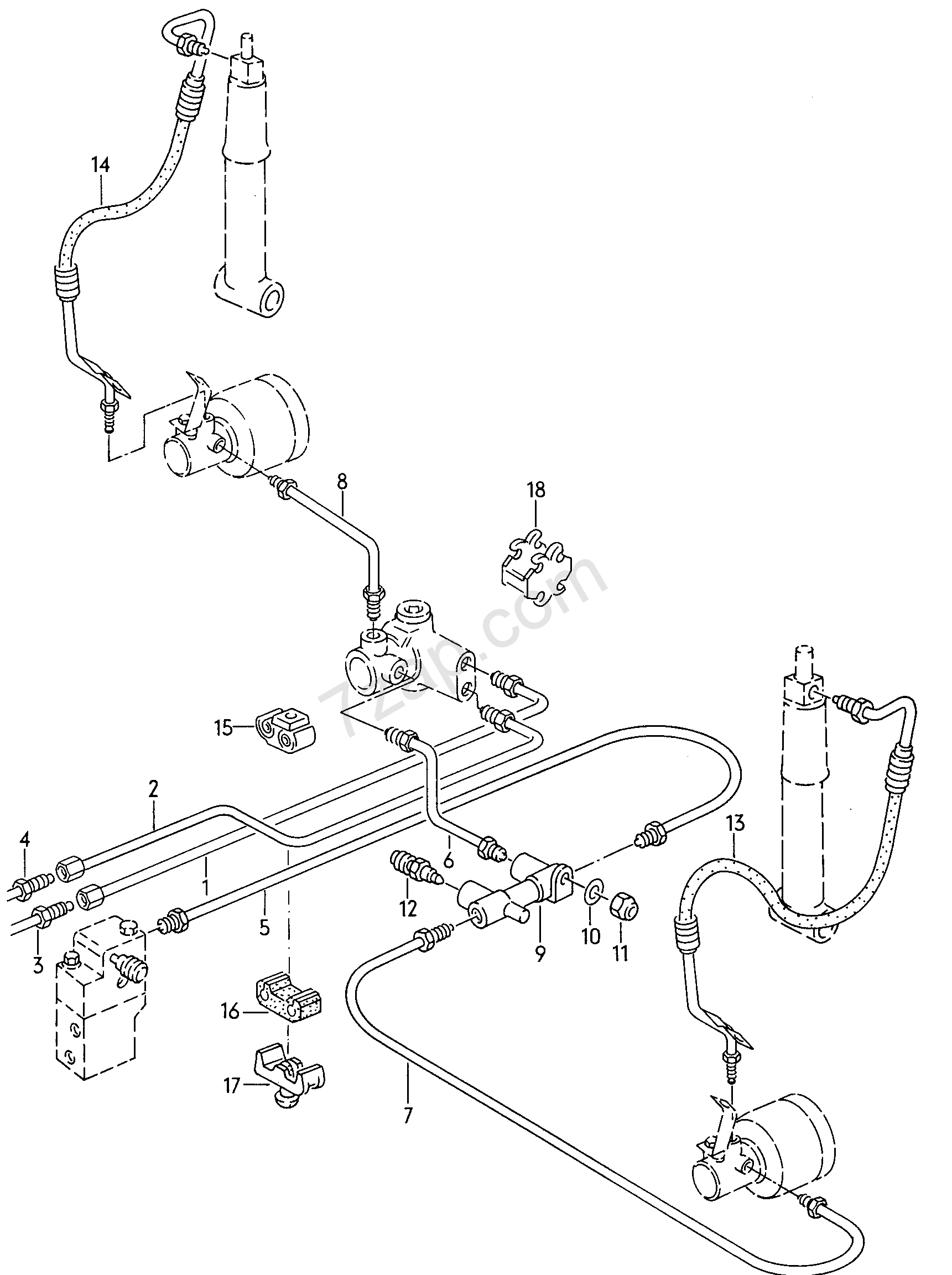 connecting parts for self- levelling Audi 100/Avant
