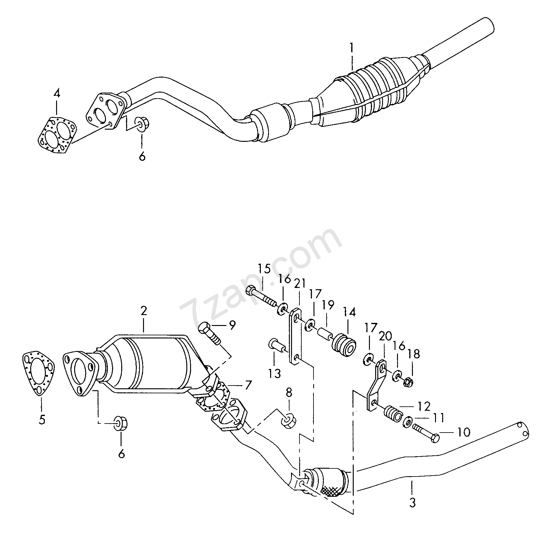 exhaust pipe with catalyst; intermediate pipe Audi A4/S4