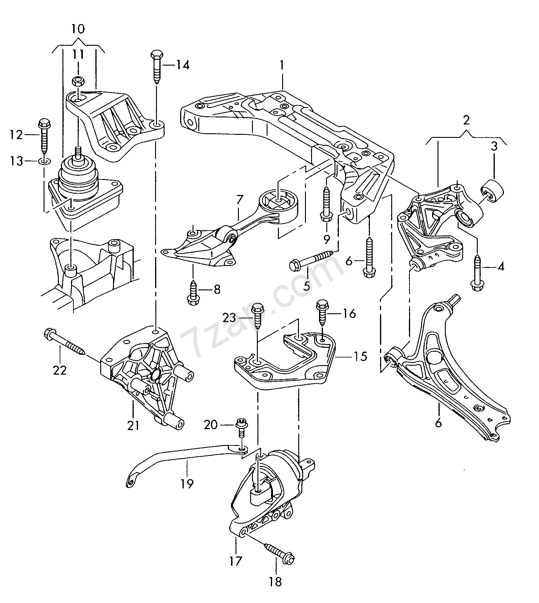 mounting parts for engine and transmission Audi A2 (A2