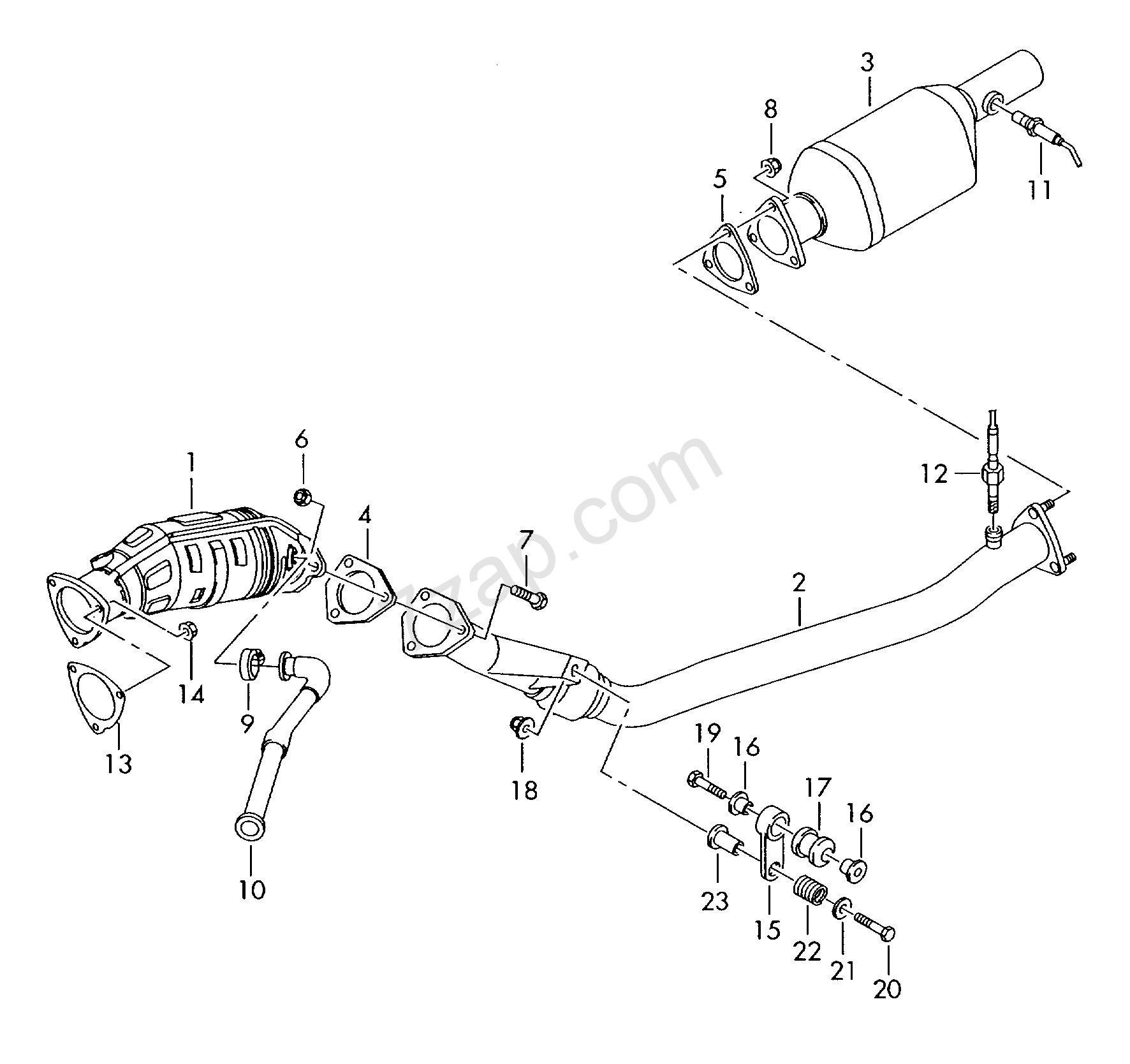 exhaust pipe; catalytic converter Audi A4/Avant (A4) 2005