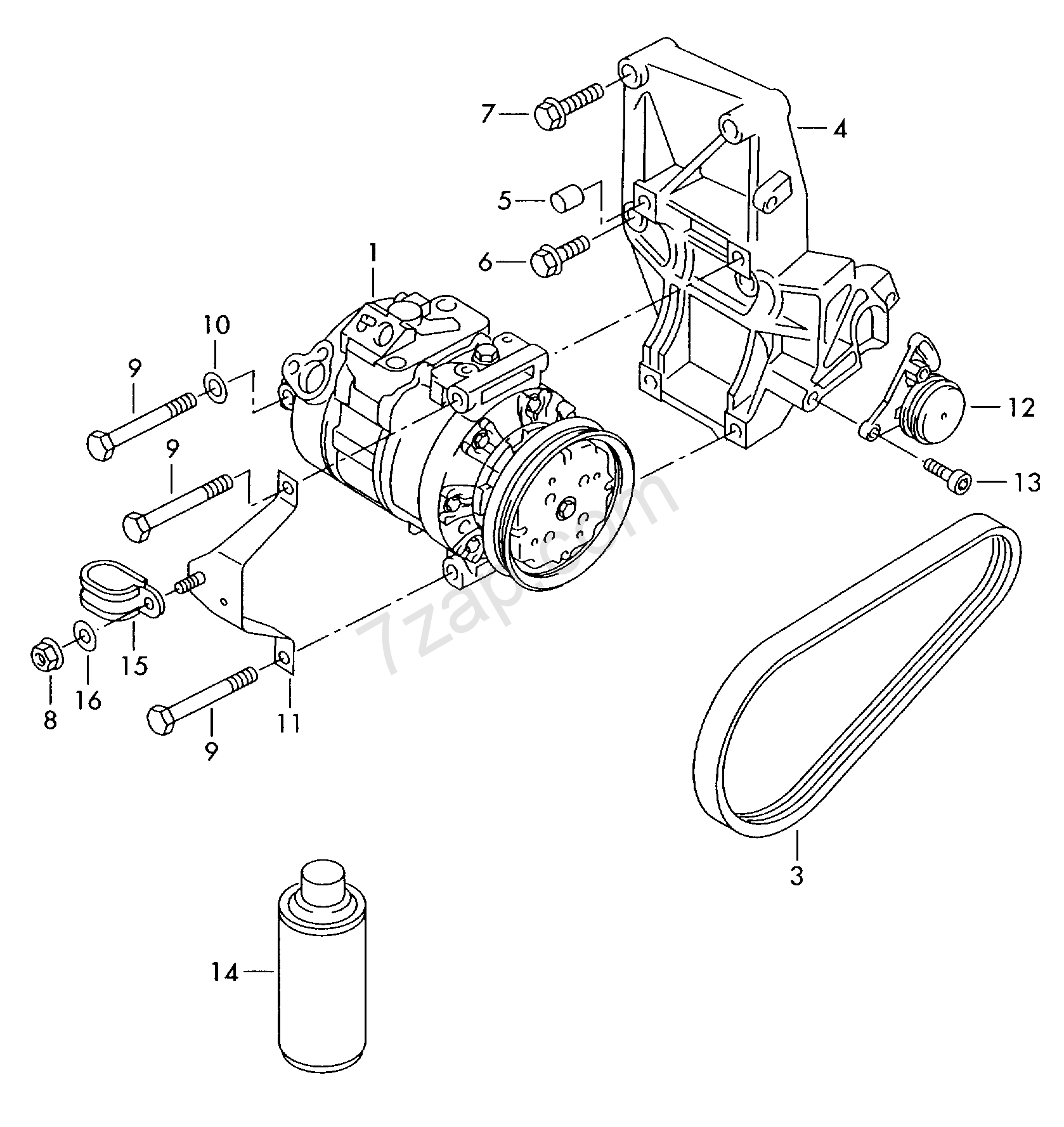 A C Compressor Connecting And Mounting Parts For Audi