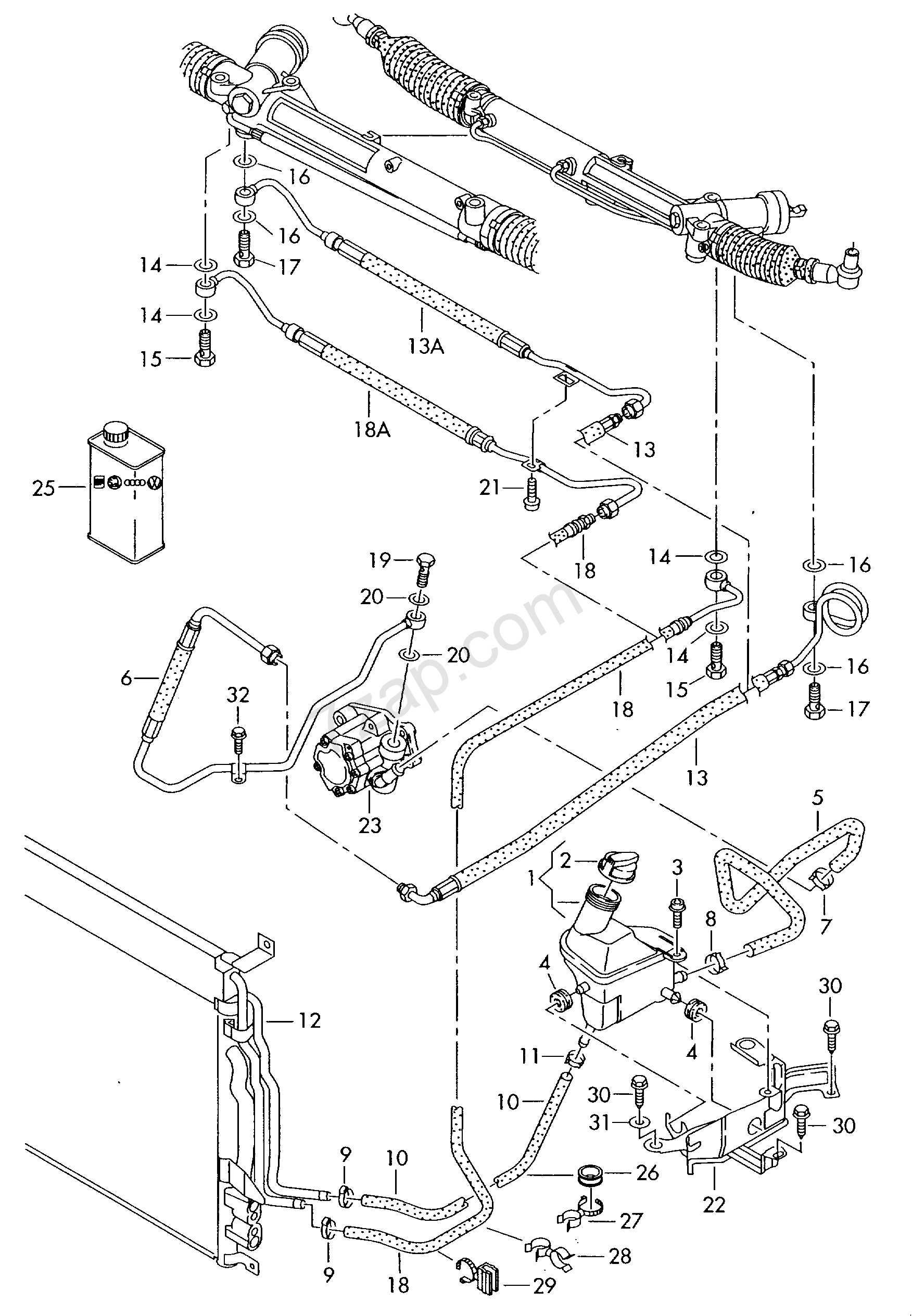oil container and connection parts, hoses Audi A8/S8