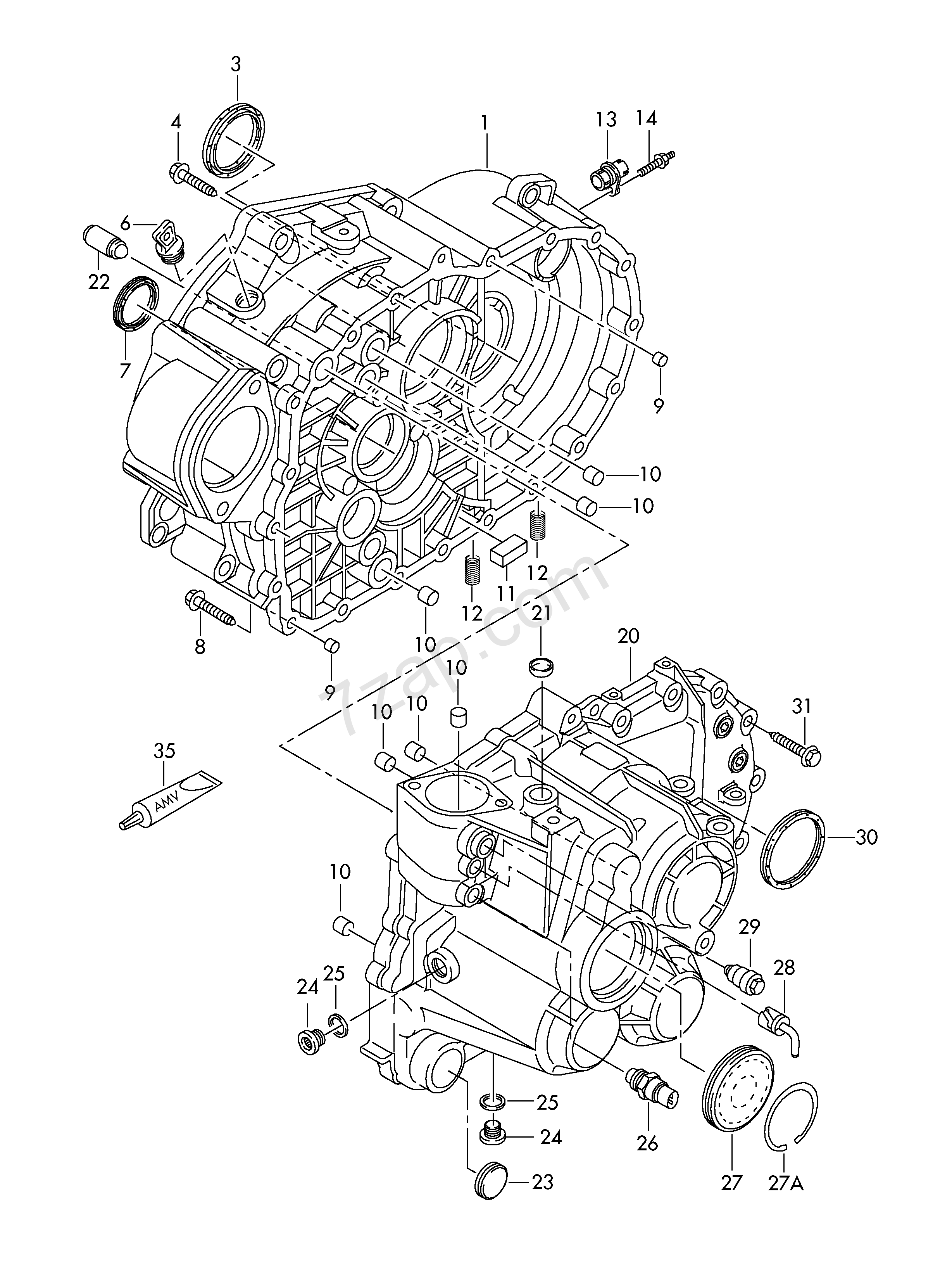 gear housing; 6-speed manual transmission; for fou... Audi