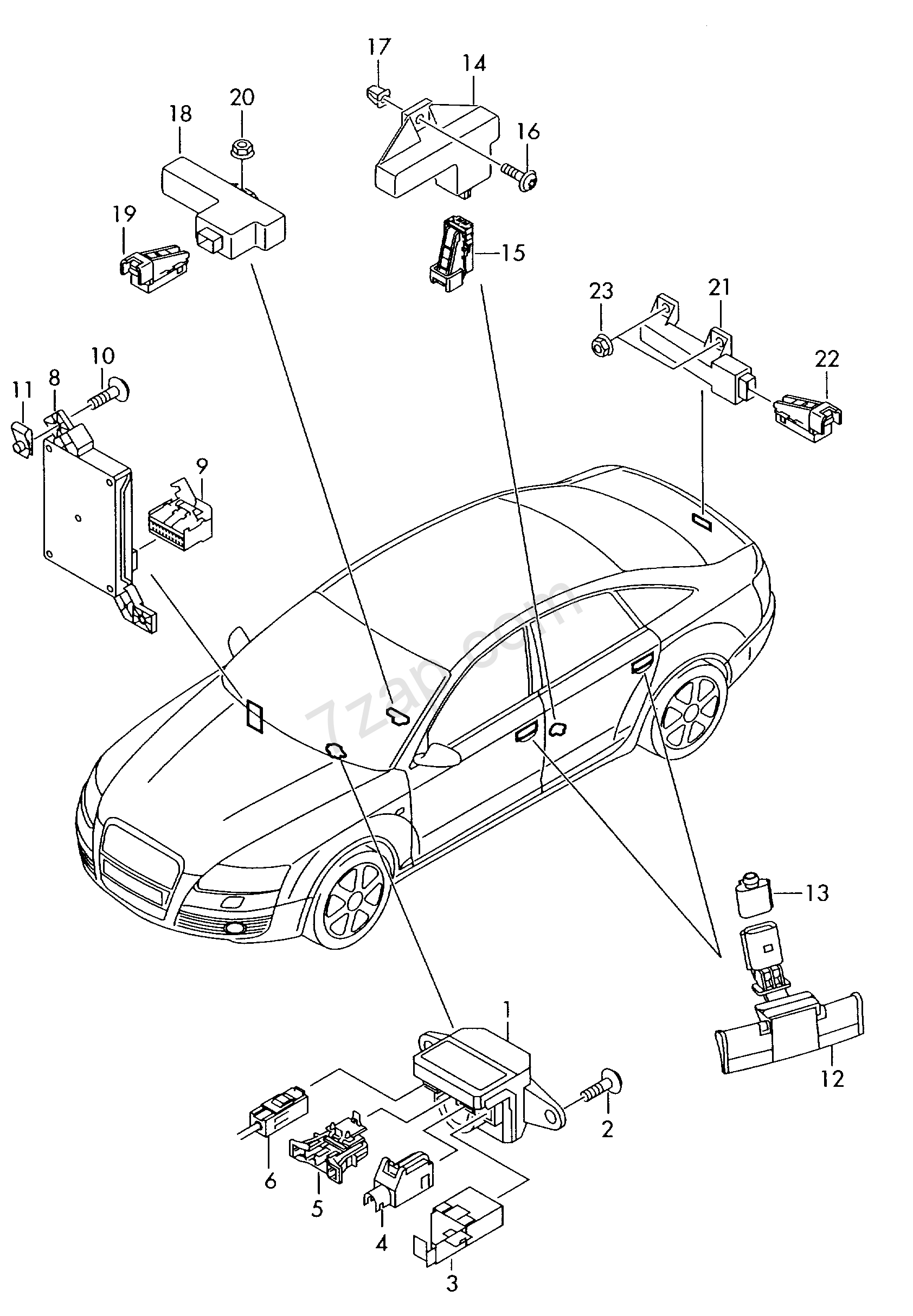 ignition/starter switch; antenna reading unit for Audi