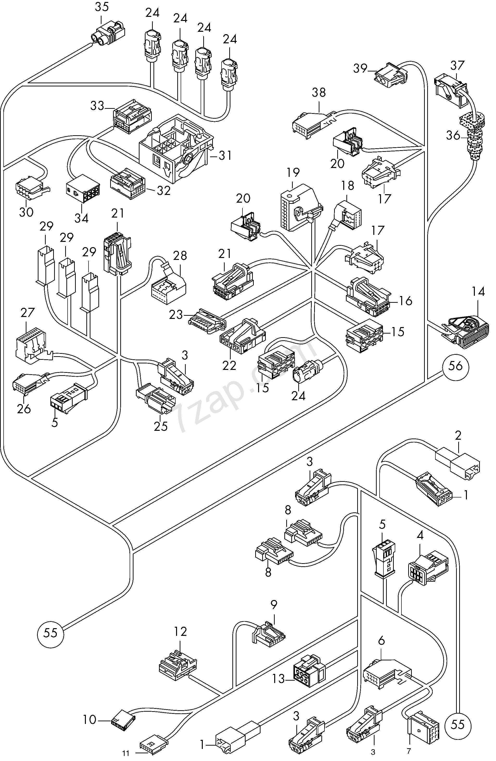 individual parts; wiring harness for interior; are... Audi