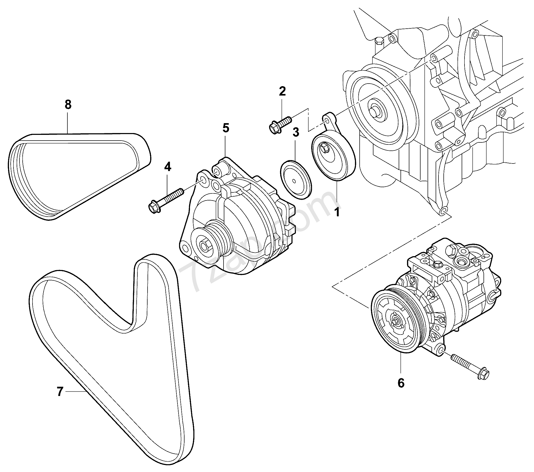 connecting and mounting parts for alternator; pol... Audi