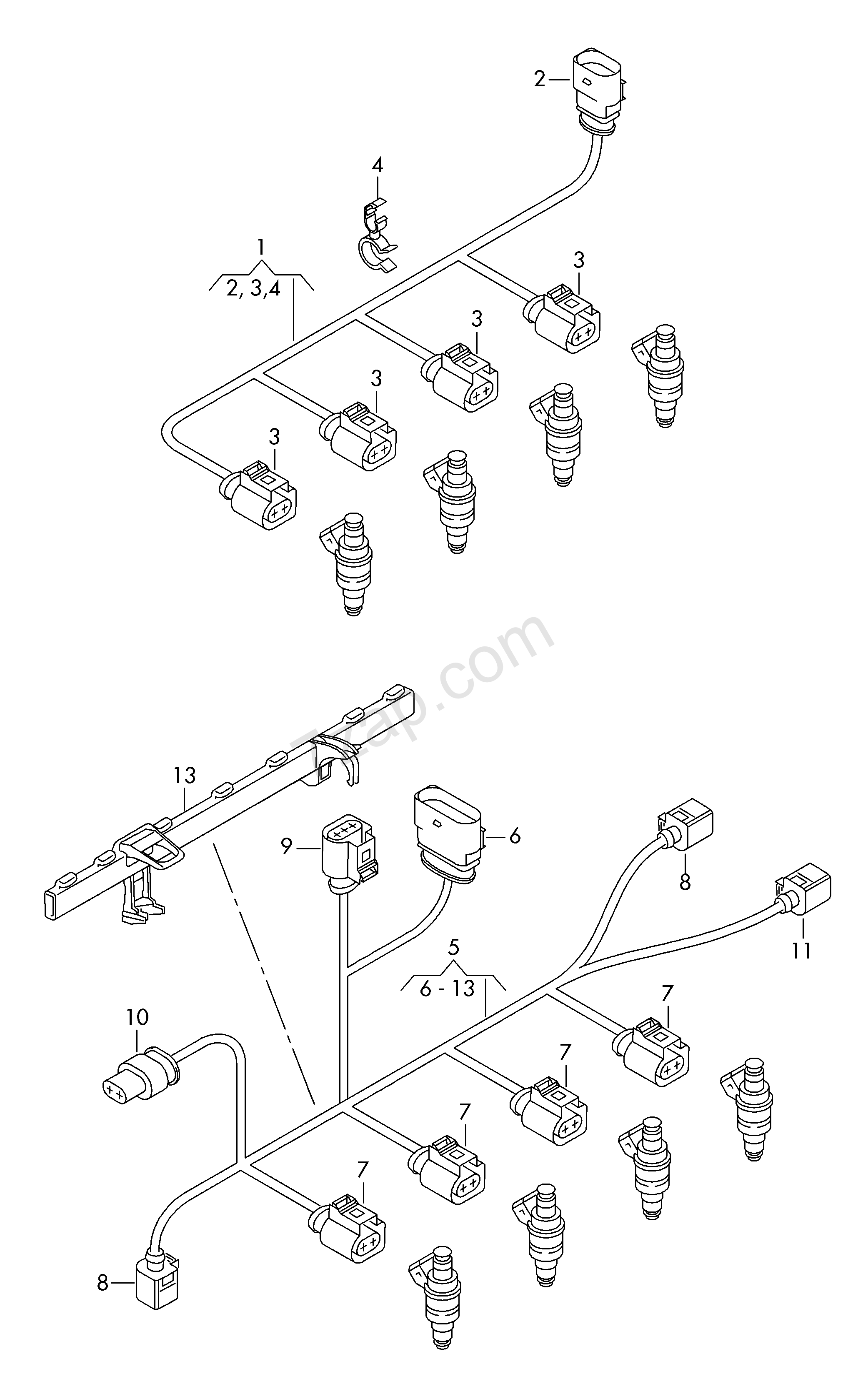 individual parts; wiring set for engine Audi A4/Avant (A4