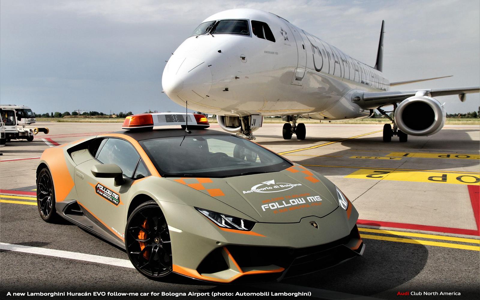 A New Lamborghini Huracán EVO Follow-Me Car for Bologna Airport