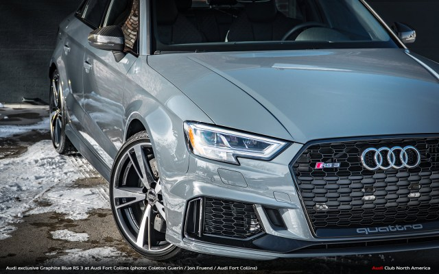 Audi exclusive Graphite Blue RS 3 at Audi Fort Collins
