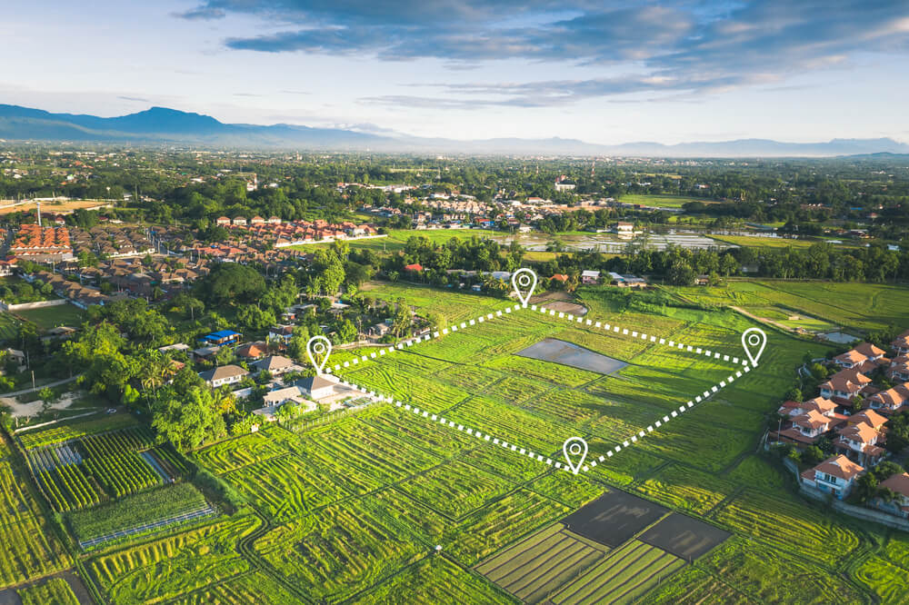 open land with real estate farm boundary